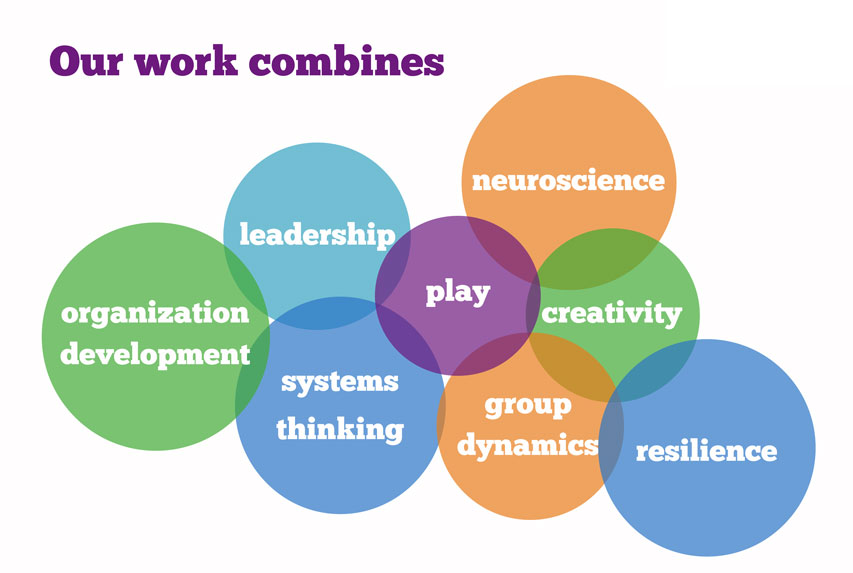 Our Work Combines: organization development, leadership, systems thinking, play, group dynamics, neuroscience, creativity, and resilience